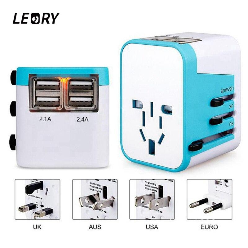 LEORY Universal International Plug Adapter 4 USB Port AU US UK EU Plug All in One World Travel AC Power Charger Adaptor