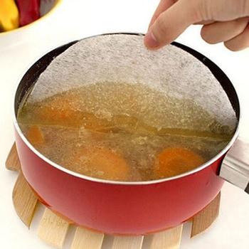 12 unids/lote de almohadillas de membrana para sopa de papel de aceite de alimentos diámetro 20cm papel absorbente de aceite