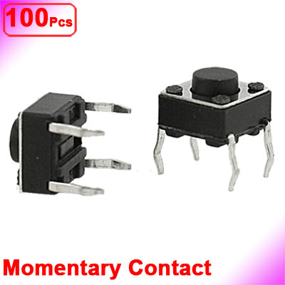 UXCELL 100 Pcs 6X6x4 5Mm Panel Pcb Momentary Tactile Tact Push Button Switch 4 Pin Dip contact momentary in Switches from Lights Lighting
