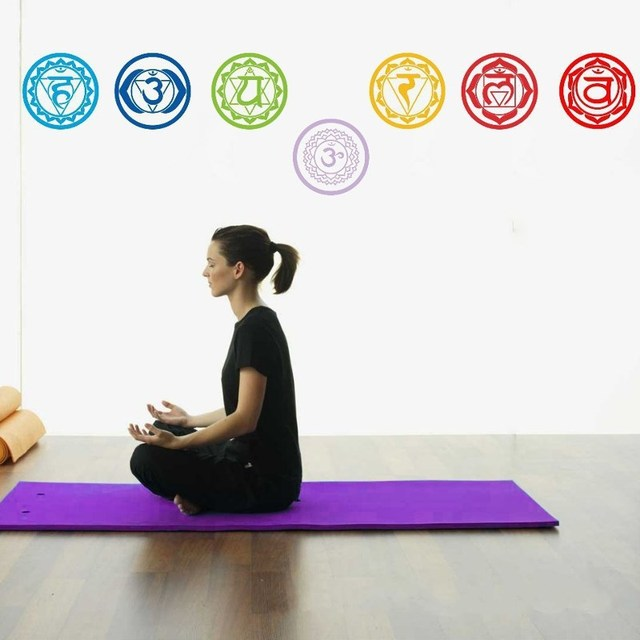 Pvc Removable Chakras Wall Stickers Mandala Yoga Meditation Symbol Decals Murals Wallpaper Home Decoration
