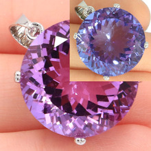 Big Round Gemstone 20x20mm Color Changing Alexandrite & Topaz Silver Pendant 29x20mm