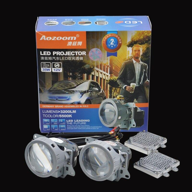 2017 Aozoom Mise À Jour Super Qualité 3.0 pouce Super Lumineux Auto Bi LED Projecteur Lentille 5500 K Voiture Haut Bas Faisceau Bi-LED lentille