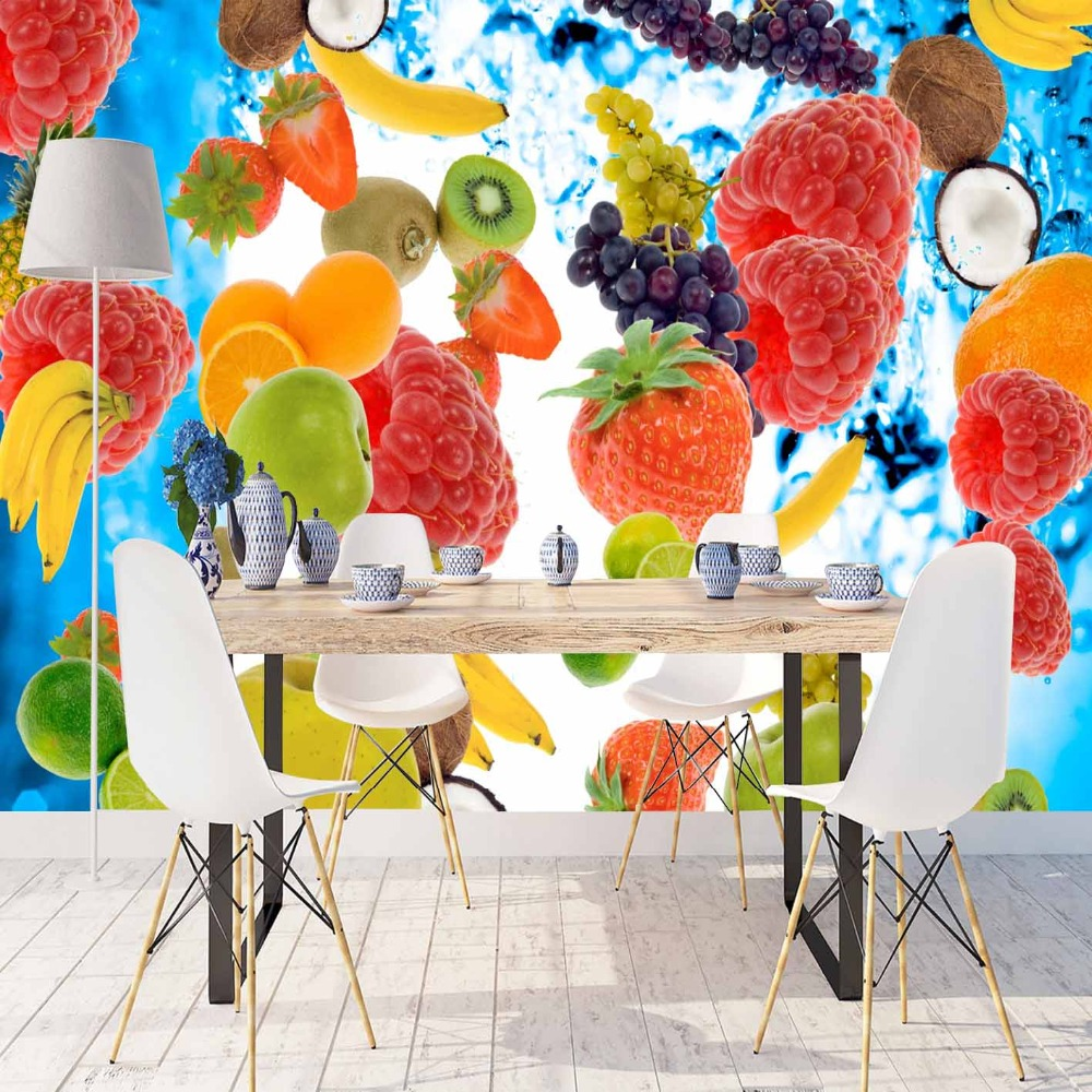 Else Blue Water In Blackberry Kiwi Banana Fruits  3d Print Photo Cleanable Fabric Mural Home Decor Kitchen Background Wallpaper