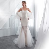 Mermaid Evening Dresses Long forFormal wedding party Elegant white open back prom gowns Evening Dresses tulle vestido de noiva