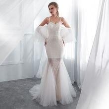 Mermaid Evening Dresses Long forFormal wedding party Elegant white open back prom gowns tulle vestido de noiva