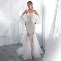 Mermaid Evening Dresses Long forFormal wedding party Elegant white open back prom gowns Evening Dresses tulle vestido de noiva