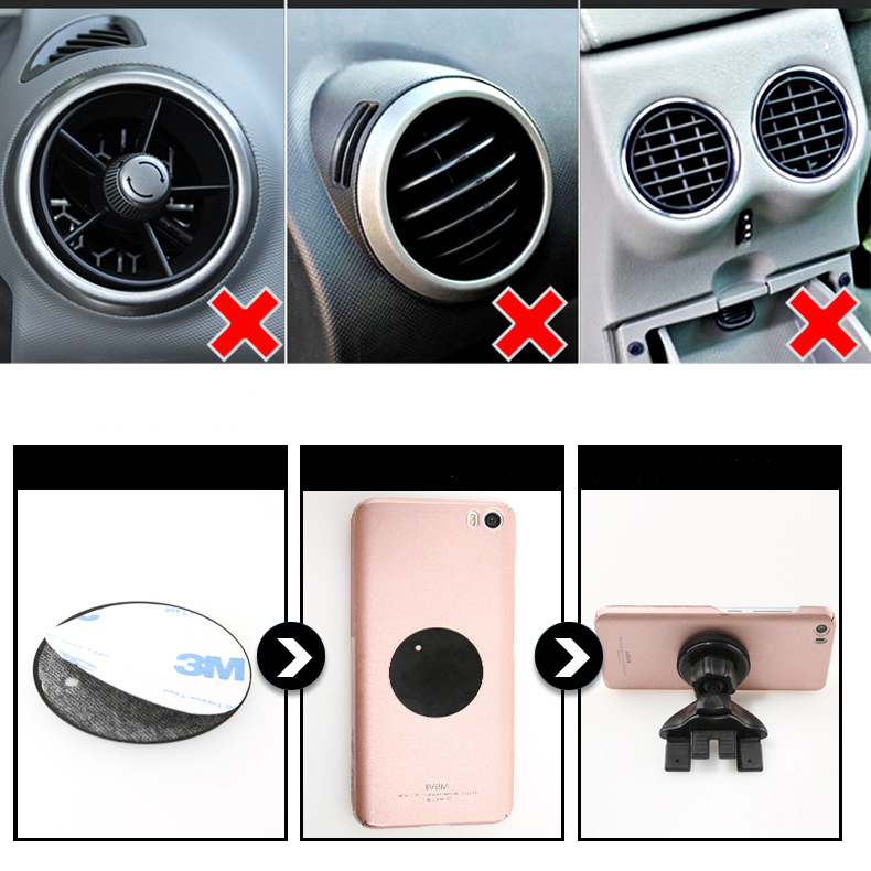 Universal 360 Degree Magnetic Car Phone Holder Air Vent Mount Support For Iphone X 8 6s GPS Xiaomi Redmi Mobile Stand in Phone Holders Stands from Cellphones Telecommunications