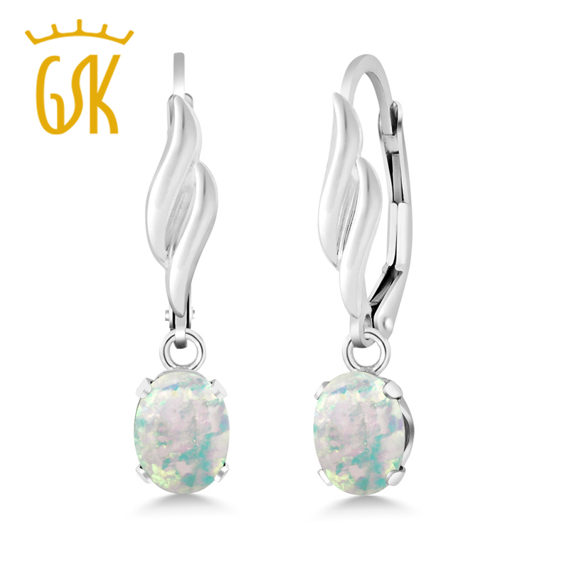1 26 Ct Oval Cabochon White Simulated Opal 925 Sterling Silver Earrings