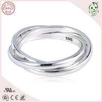 Top Quality New Collection Famous Brand Three Circles 925 Real Silver Ring