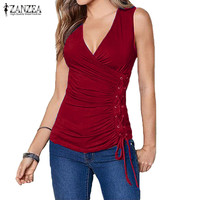 2017 ZANZEA Women Sleeveless V Neck Stretch Slim Tops Tees Tanks Vest Sexy Side Front Wrapped