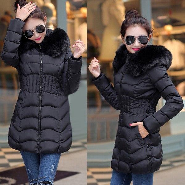 2018 New Winter Brand Ladies Winter Warm Down Coat Women Faux Fur Fleece Collar Hooded Zip Up Overcoat Women Long Jackets L-4XL