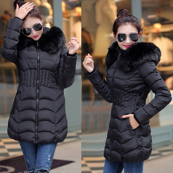 2018 New Winter Brand Ladies Winter Warm Down Coat Women Faux Fur Fleece Collar Hooded Zip Up Overcoat Women Long Jackets L-4XL