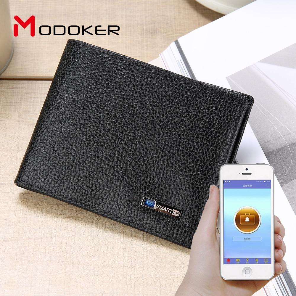 Echtes Leder Smart Brieftasche Tracker Bluetooth Verbunden mit APP Anti Verloren Anti Theft Selfie Männer Brieftasche