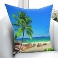 Else Green  тропическая пальма  Пляжная  морская  коричневая  песочная  3D принт  наволочка  наволочка  квадратная  скрытая молния  45x45 см