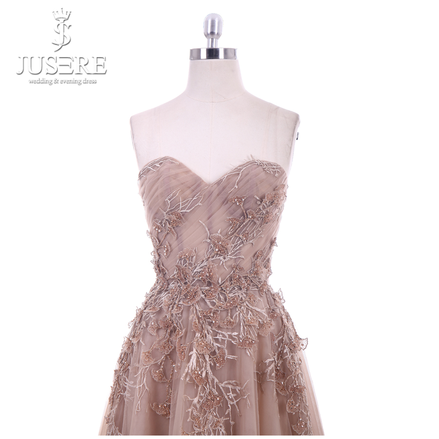 Image 4 - Jusere 2018 New A Line Sweetheart Applique Top Sweep Train Zipper up Back Illusion Long Prom Dress Lace Appliques Evening GownsProm Dresses   -