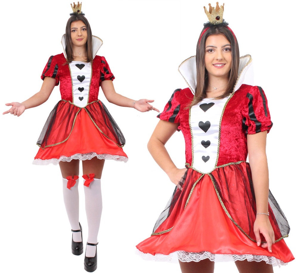 ADULT LADIES QUEEN OF HEARTS SPADES STOCKINGS <font><b>ALICE</b></font> <font><b>IN</b></font> <font><b>WONDERLAND</b></font> <font><b>COSTUME</b></font> RED HALLOWEEN PARTY FANCY DRESS WOMENS <font><b>SEXY</b></font> COSPLAY image