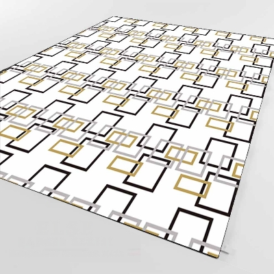 Else White Black Yellow Square Geometric 3d Print Non Slip Microfiber Living Room Decorative Modern Washable Area Rug Mat