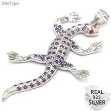 SheType 3.6g Lizard Purple Amethyst Garnet Gift For Girls 925 Solid Sterling Silver Pendant 50x27mm