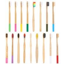 Brosse à dents en bambou à poils souples, naturel, écologique, à faible teneur en carbone, soins buccaux, 17 couleurs, vente en gros, livraison directe