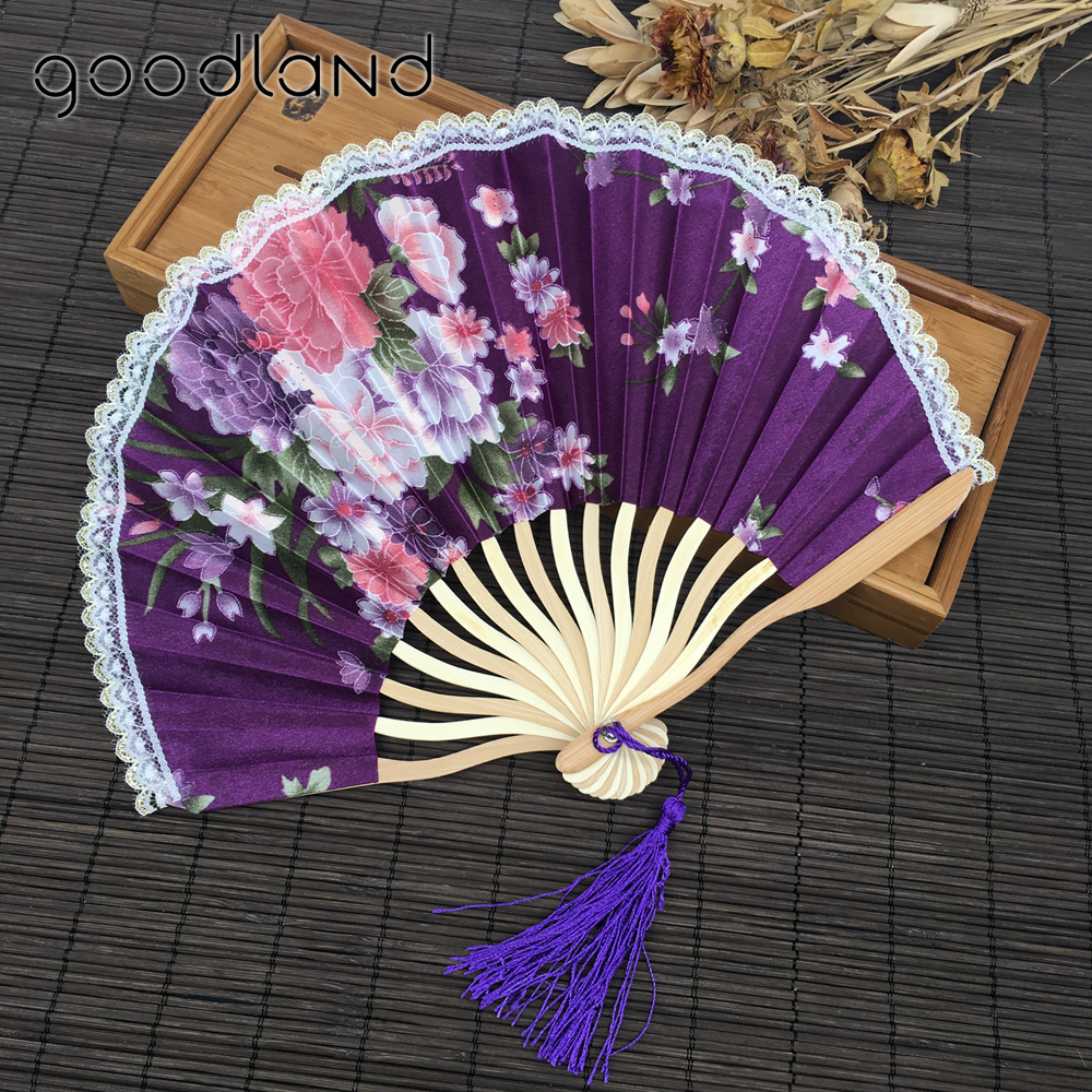 free shipping 5pcs new arrival with gift bags lace edge cherry blossom print fabric folding held hand fan birthday decoration - Halloween Lace Fabric