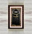 Алый черный пол  красные цветы Кааба 3d  Турецкая  мусульманская молитва  коврики с кисточками  противоскользящий современный коврик для мол...