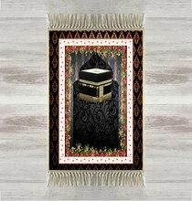 Khác Sàn Màu Đen Kaaba Hoa Màu Đỏ 3d Thổ Nhĩ Kỳ Hồi Giáo Hồi Giáo Cầu Nguyện Thảm Tasseled Chống Trượt Hiện Đại Cầu Nguyện Mat Ramadan Eid quà tặng