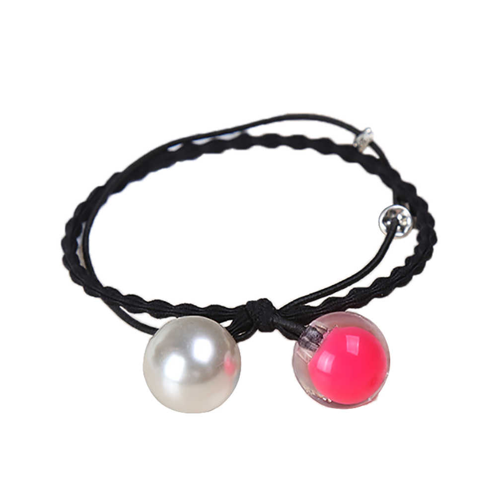 Fashion Girls Faux Pearl Beads Hair Bobbles Ties Band Elastic Ponytail Holder