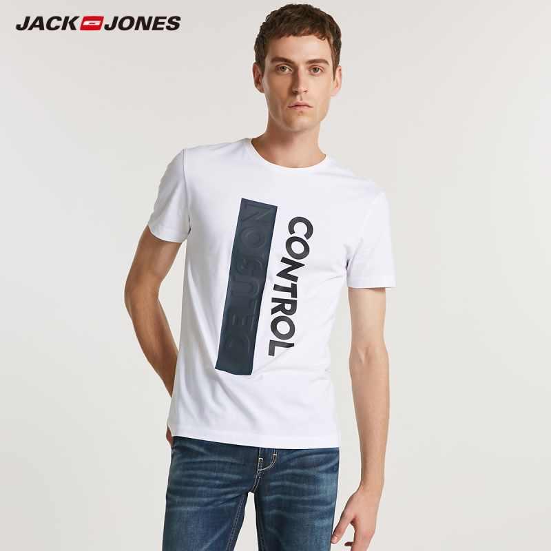 JackJones Мужская Весенняя футболка с круглым вырезом и 3D-принтом с короткими рукавами C | 218201603