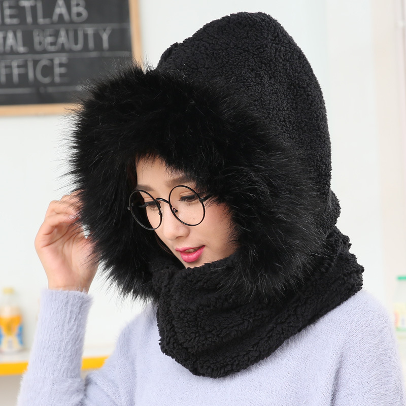 New dual-use suit women's plus velvet thick fashion neck protector ear cover hooded scarf cap one pc set girl Bomber hat(China)