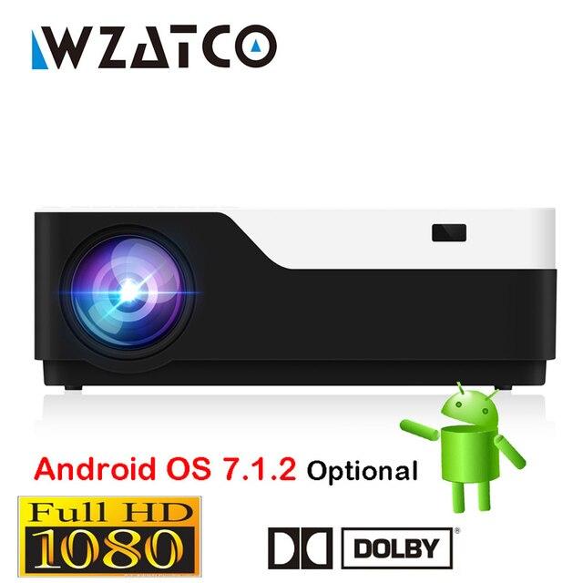 WZATCO 1920x1080 P Android 7.1 Hỗ Trợ WIFI AC3 4 K 200 inch Full HD 1080 P LED Máy Chiếu video Proyector cho Rạp Hát Tại Nhà 5500 lumen