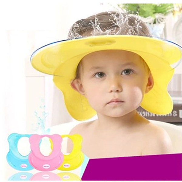 Safely Silicone Adjustable Baby Shower Cap Protect Shampoo Bath Visor Hat Hair Wash Shield