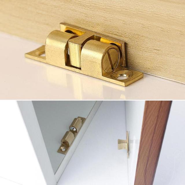 42/50/60/70mm Brass Door Stop Lock Buckle Door Touch Latch Cabinets Closet  Inner Locks Polishing Switch Ball Locker Stopper