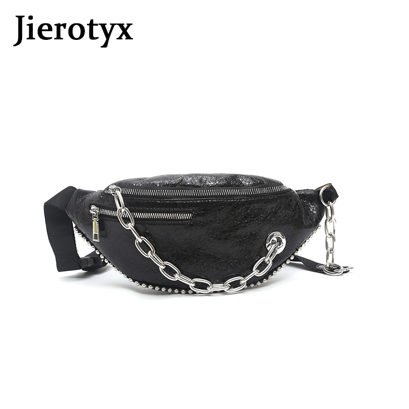 JIEROTYX Punk Girls Fanny Pack Belt Bags Women PU Leather Fashion Chain Chest Bag Soft Belt Pouch Holographic Fanny Pack Sac