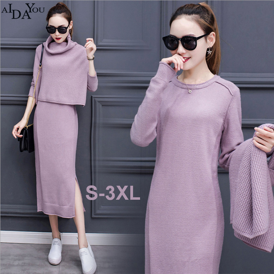 Women set autumn winter fashion 2 pieces sets coat and long dress full batwing sleeve slim comfortable lady dresses 2017 ouc1691