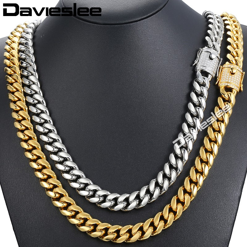 все цены на Davieslee Miami Curb Mens Necklace Chain Iced Out Cubic Zirconia CZ 316L Stainless Steel Gold Silver Color 12/14mm 30inch DHNM21 онлайн
