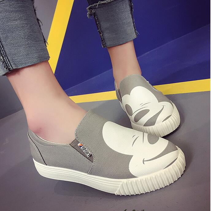 2018 lady spring autumn new women low to help single shoes leisure flats canvas shoes woman casual shoes Mickey female faltshoes vintage embroidery women flats chinese floral canvas embroidered shoes national old beijing cloth single dance soft flats
