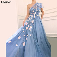 New Elegant Middle East Evening Dresses A Line One Shoulder Sleeveless Fairy Tulle Evening Prom Party Red Carpet Gowns Flowers