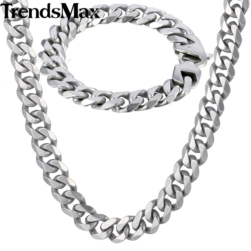Trendsmax Matte Jewelry Set Mens Necklace Bracelet 316L Stainless Steel Chain Silver Tone Curb Cuban Link HS42 25mm mens chain boys big curb link gunmetal tone 316l stainless steel bracelet charm bracelets for women