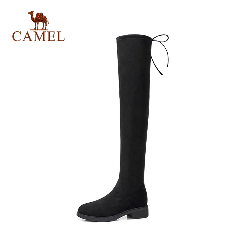 CAMEL Winter Boots Women Fashion Thigh High Boots Faux Suede Over The Knee Boots Lace Up Sexy High Heels Women Shoes Lace Up burgundy sexy suede lace up back design vest