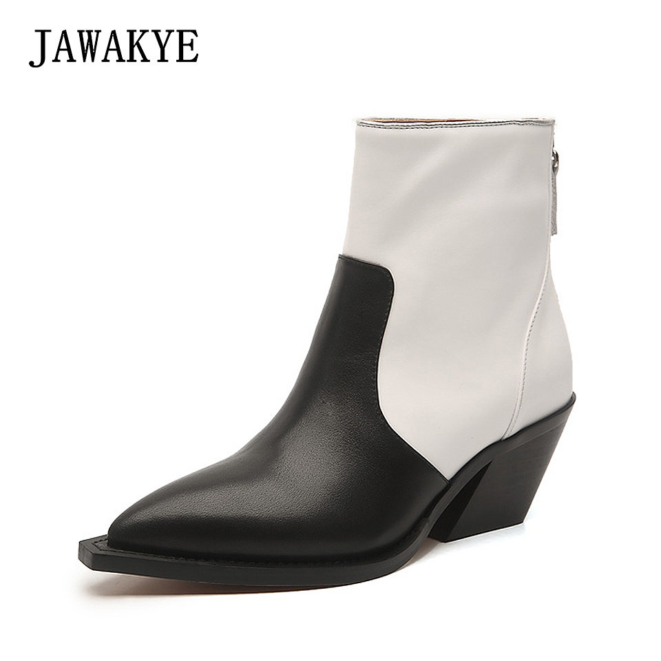 Genuine Leather Pointy Toe Ankle Boots Women Back zipper Chunky High Heels Black white patchwork Winter Shoes Motorcycle Boots autumn winter black white high heels knight boots real leather shoes british retro metal decor pointy toe ankle boots for women