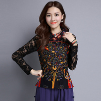 2018 Ethnic style Spring Autumn Women T Shirt V Neck Printed Long Sleeve Lace T Shirt Casual Tops Pullover Blusas 254
