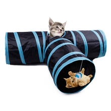 Foldable Cats Play Tunnel 3 Holes Pet Cat Toys Outdoor Training Toy Kitten Rabbit Funny House 35