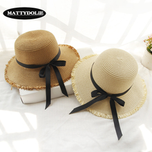 MATTYDOLIE Summer domed straw hat ladies travel leisure beach sun breathable fashionable bow tie girls can be folded