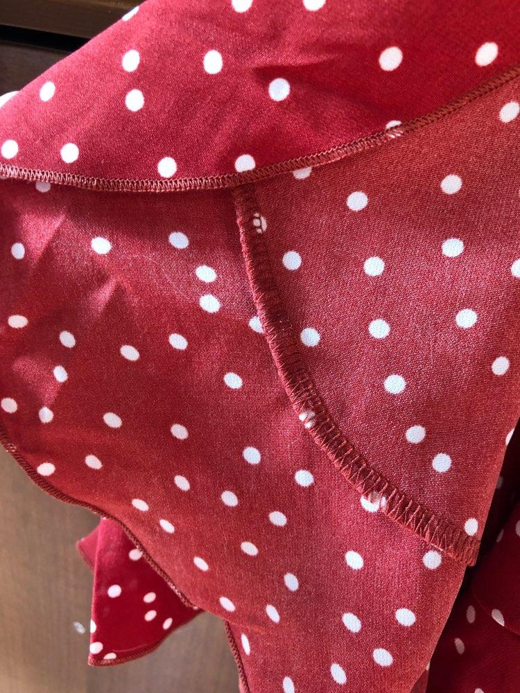 Red Polka Dot Summer Dress Short Sleeve V Neck Sexy Wrap Dress Slim Waist Elegant Boho Ruffles Vestidos Women Dress photo review