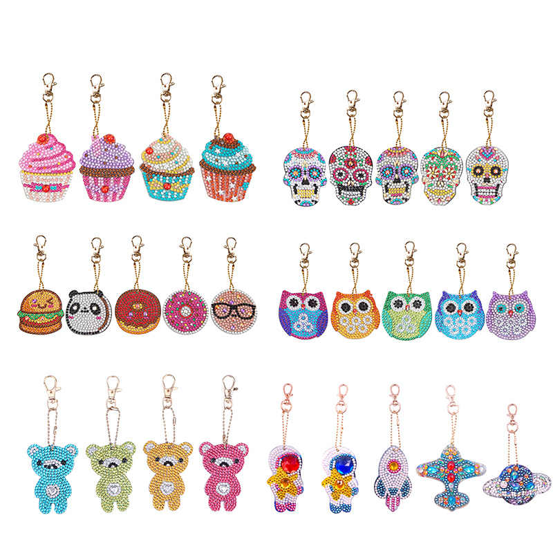 5pcs DIY Full Drill Special Shaped Diamond Painting Keychains Women Bag Pendant Jewelry Key Ring Embroidery Cross Stitch