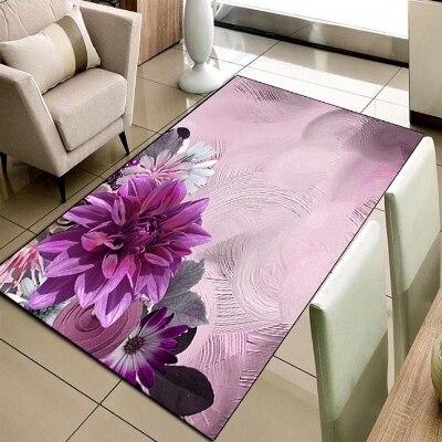 Else Purple Flowers Vintage Retro Floor 3d Print Non Slip Microfiber Living Room Decorative Modern Washable Area Rug Mat