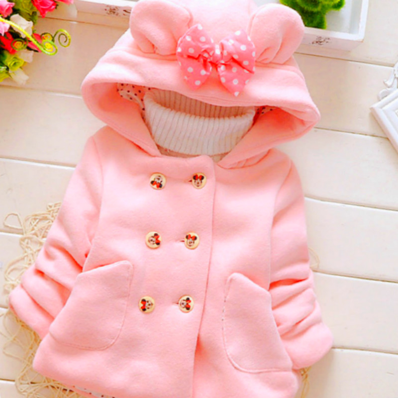 M.LEIHE.BO 0-3 Year Old Thick Winter Girl Woolen Jacket Hat