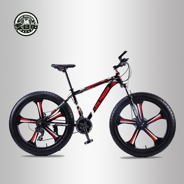 Love Freedom top quality 7/24/27 Speed 26*4.0 Fat bike Aluminum Frame Mountain Bike Shock Suspension Fork bicicleta Snow bicycle