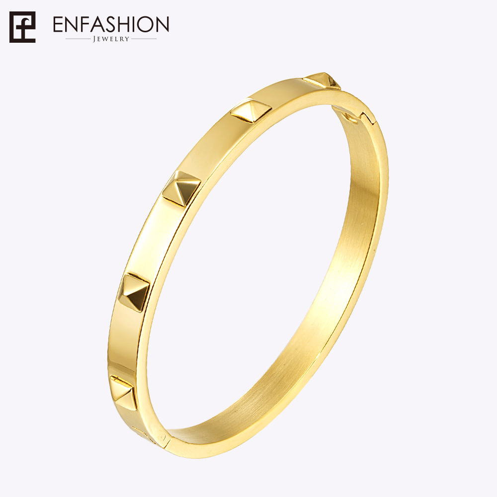 Enfashion Pyramid Spikes Bracelet Manchette Gold Color Stainless Bracelet For Women byzylykët Prangat e grave