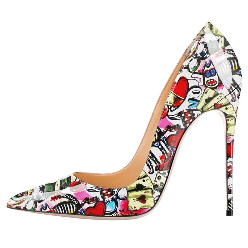 0a457468f4e Graffiti Impresso Bombas Mulheres Sapatos de Couro de Salto Alto Patente  Sapatos de Designers Da Marca